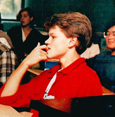 Matt Damon high school yearbook photo young Senior Year Cambridge Rindge and Latin High School Cambridge MA 1988 before famous