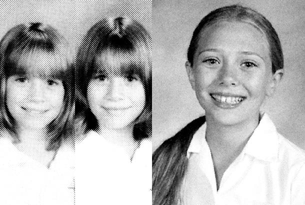 Mary-Kate Olsen Ashley Olsen Elizabeth Olsen young high school yearbook photo